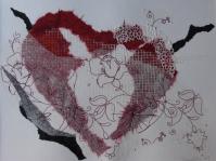 Coeur Rouge (collage papiers soie et papier japon sur paier aquarelle) 2009